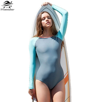 2016 Brand New Summer Beach One Piece Fashion Long Sleeve Swimwear 2 Color Patchwork Bathing Suit