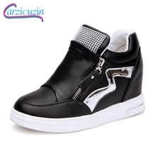 CarziCuzin Women High Wedge Boots Side Zipper Sneakers Bling Crystal Thick Bottom Woman Shoes Fashion Korea Footwear Size 35-39