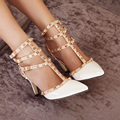 High Quality Women Shoes Fashion Women Pumps High Heels Rivets&Spike Shoes Patent Leather Party Shoes Sandals