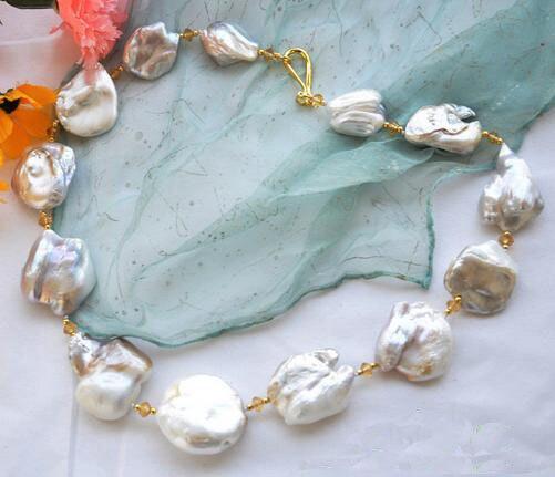 Genuine Pearl Jewellery,Huge Natural 4-40mm Baroque White Keshi Reborn Pearl,Crystal Beads Necklace,23inches Long NecklaceGenuine Pearl Jewellery,Huge Natural 4-40mm Baroque White Keshi Reborn Pearl,Crystal Beads Necklace,23inches Long Necklace