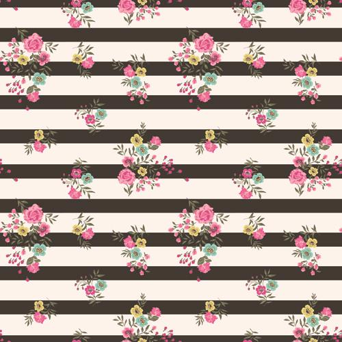 Huayi Black White Stripe With Flowers Art Fabric Backdrop Customized