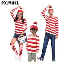 Cadılar bayramı yetişkin çocuk ebeveyn çocuk karikatür nerede Wally Waldo Cosplay kostüm kırmızı beyaz çizgili gömlek + şapka + gözlük kız erkek