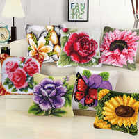Plant Series DIY Handcraft Section Embroidered Coarse Wool Pillow Beautiful Flowers Embroidery Hand Knitted Carpet Materials