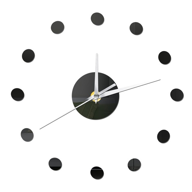 Small Dots Diy Wall Clock Modern Design Home Decor Self Adhesive Mirror Sticker