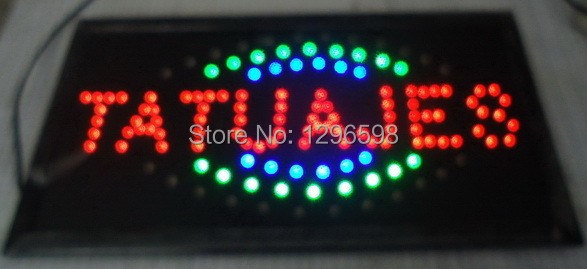 2017 Direct Selling 10X19 inch indoor Ultra Bright flashing customed tatuajes tattoo store open sign of led-