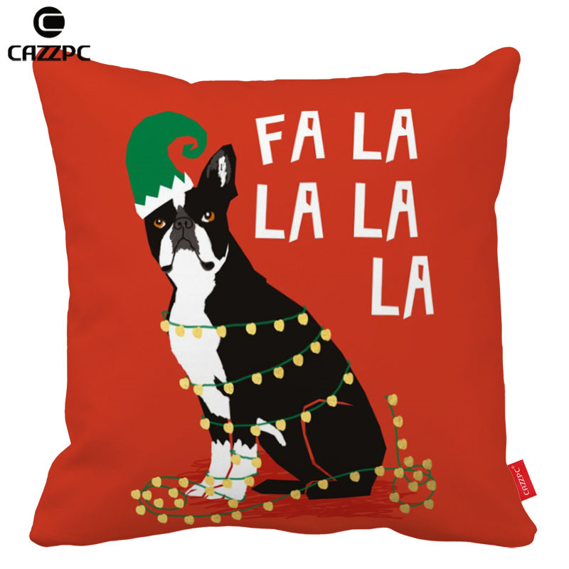 Red Pink Green Boston Terrier Dog Cat Christmas Print Custom Car Cool Boston Terrier Decorative Pillow