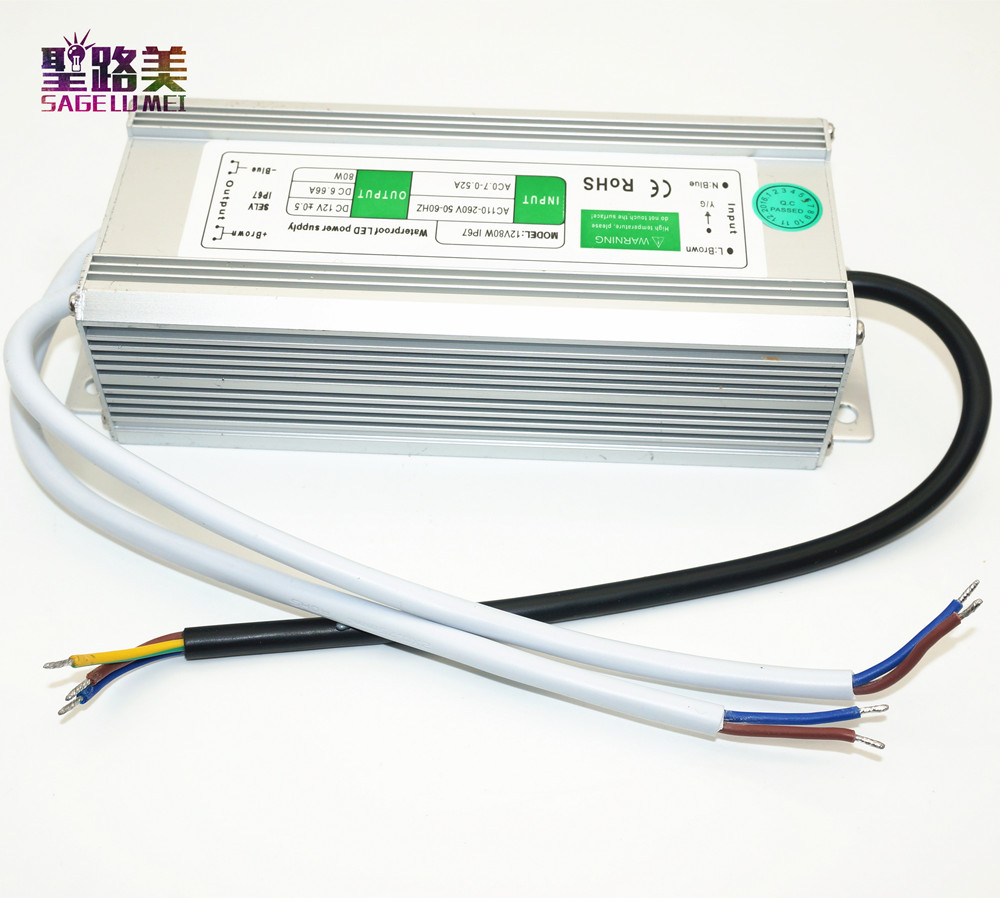 free shipping best price DC12V 80W Waterproof Electronic LED Driver Transformer Power Supply outdoor IP67 led strip lamp high quality aluminium dc12v 21a 250w waterproof power supply ip67 led transformer free shipping