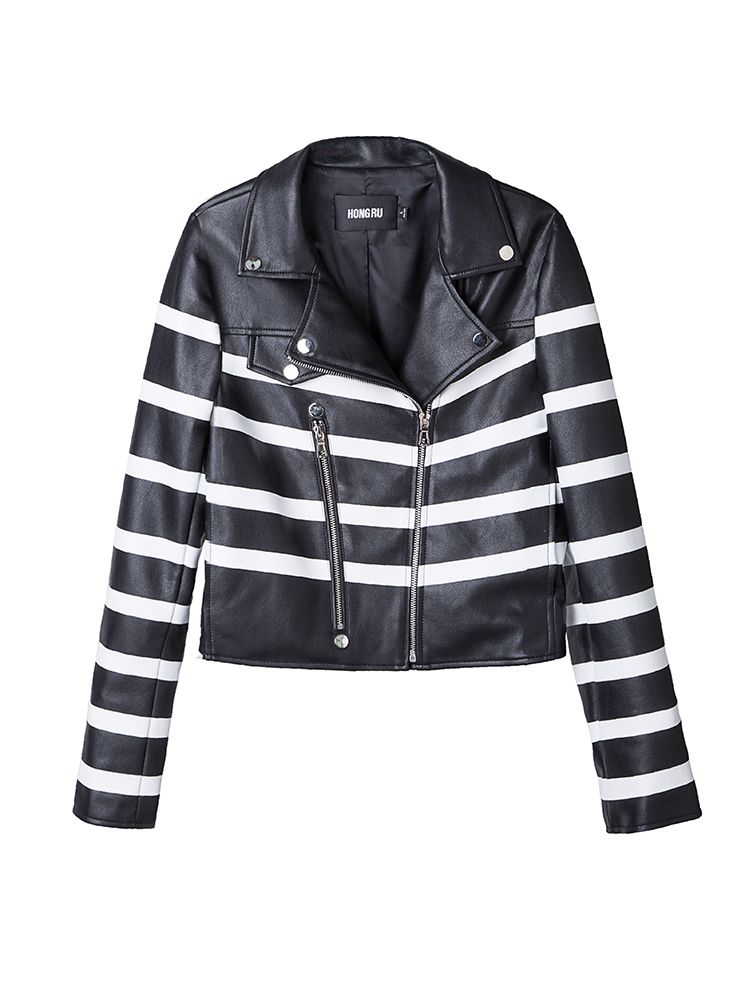 Striped Soft   Leather   Jacket Women Autumn PU   Leather   Motorcycle Black White Color Block Long Sleeve Biker Coat HR1007