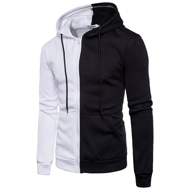 Brand 2019 Hoodie Simple 색 Cardigan Hoodies Men 패션 운동복 남성 Sweatshirt 두건을 쓴 Men Zipper Jacket Plus Size Black