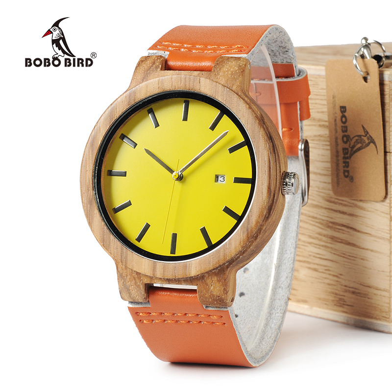 BOBO BIRD WO09 Newest Zebra Wood Watches Yellow Orange Leather Band Calendar Quartz Watch for Men Women With Wooden Box OEM bobo bird brand new wood sunglasses with wood box polarized for men and women beech wooden sun glasses cool oculos 2017