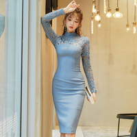 long sleeve lace elegant office lady summer dress women pencil solid full japanese asian style vestido midi sexy party dresses