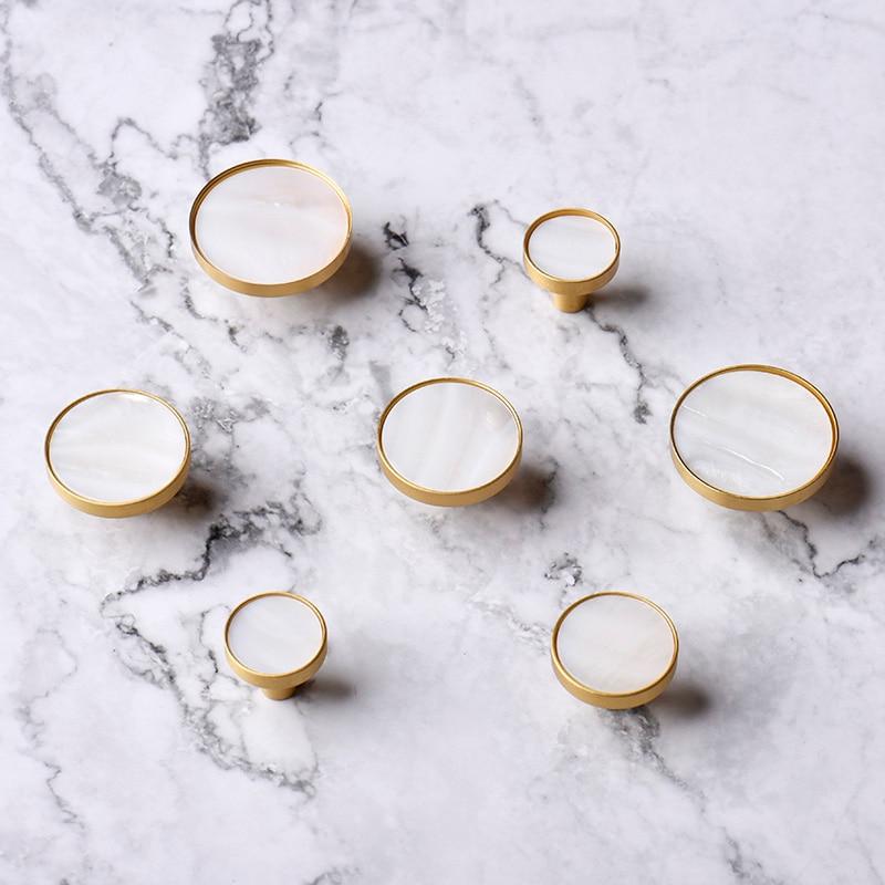 White Round Brass+shell Cabinet Pulls/Kitchen Drawer