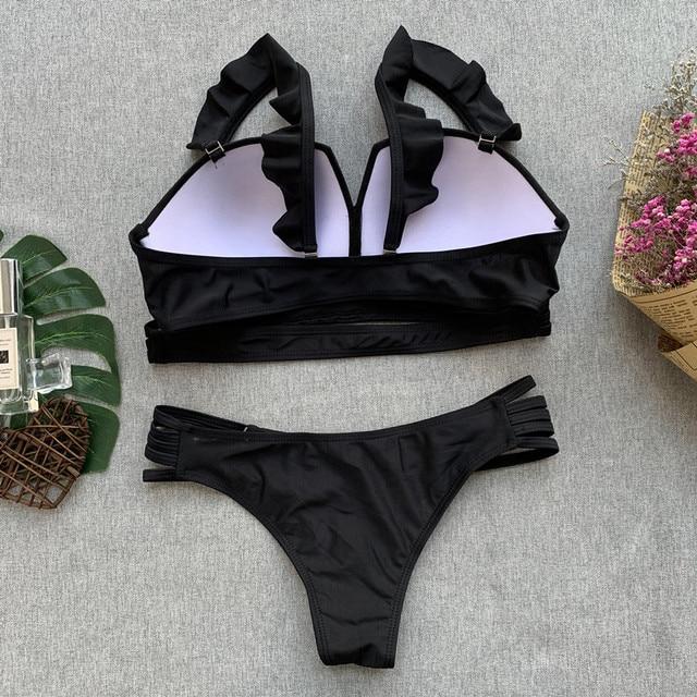 Black Embroidery Swimsuit 2019 Sexy Push Up Ethnic Style Swimwear Women Biquinis Brazilian Bandage Bikini Monokini Bathing Suits