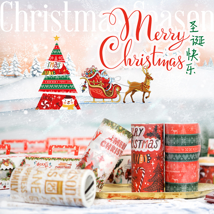 9cm width Merry Christmas Decorative Postcard Washi Tape Adhesive Tape DIY Scrapbooking Sticker Label Masking Tape 5metters Xmas 3d navidad merry christmas postcard tree greeting cards postcards birthday gift message card xmas thanksgiving card