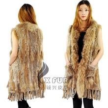 CX-G-B-120 Real Rabbit Fur Fashion Vest With Raccoon Fur Collar