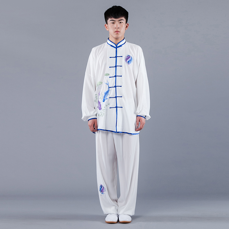 Men Unisex Tai Chi Martial Arts Uniforms Cotton Blend Chinese Traditional Long Sleeve Embroidery Kung Fu Tai Ji Outfit Wear