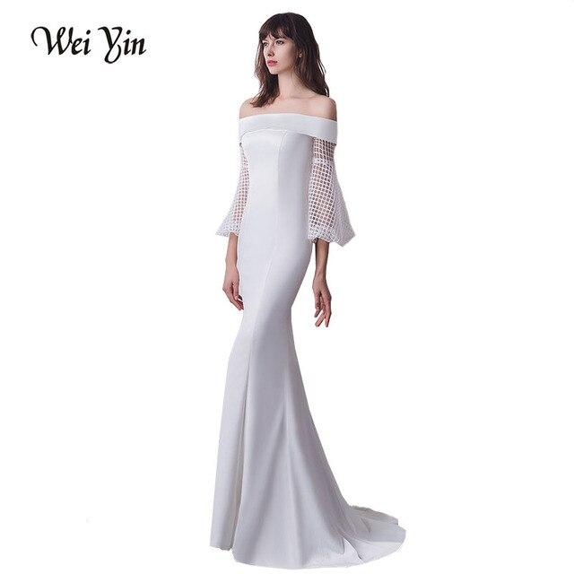 WEIYIN New Arrivals White Mermaid Evening Dresses Three Quarter Sleeve Lace  Long Special Occaison Dresses Vestido De Festa da5c2da224b4