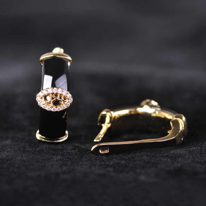 Blucome Schwarz Keramik Ohrringe Ringe Set Gold Farbe Prinzessin Haken Ohrringe Voll Zirkone Strass Einstellung Schmuck-Sets