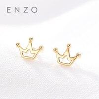 Enzo Pure 18K Gold Earring Crown Jewelry Women Miss Girls Gift Party Female Stud Earrings Solid Hot Sale New Good Trendy