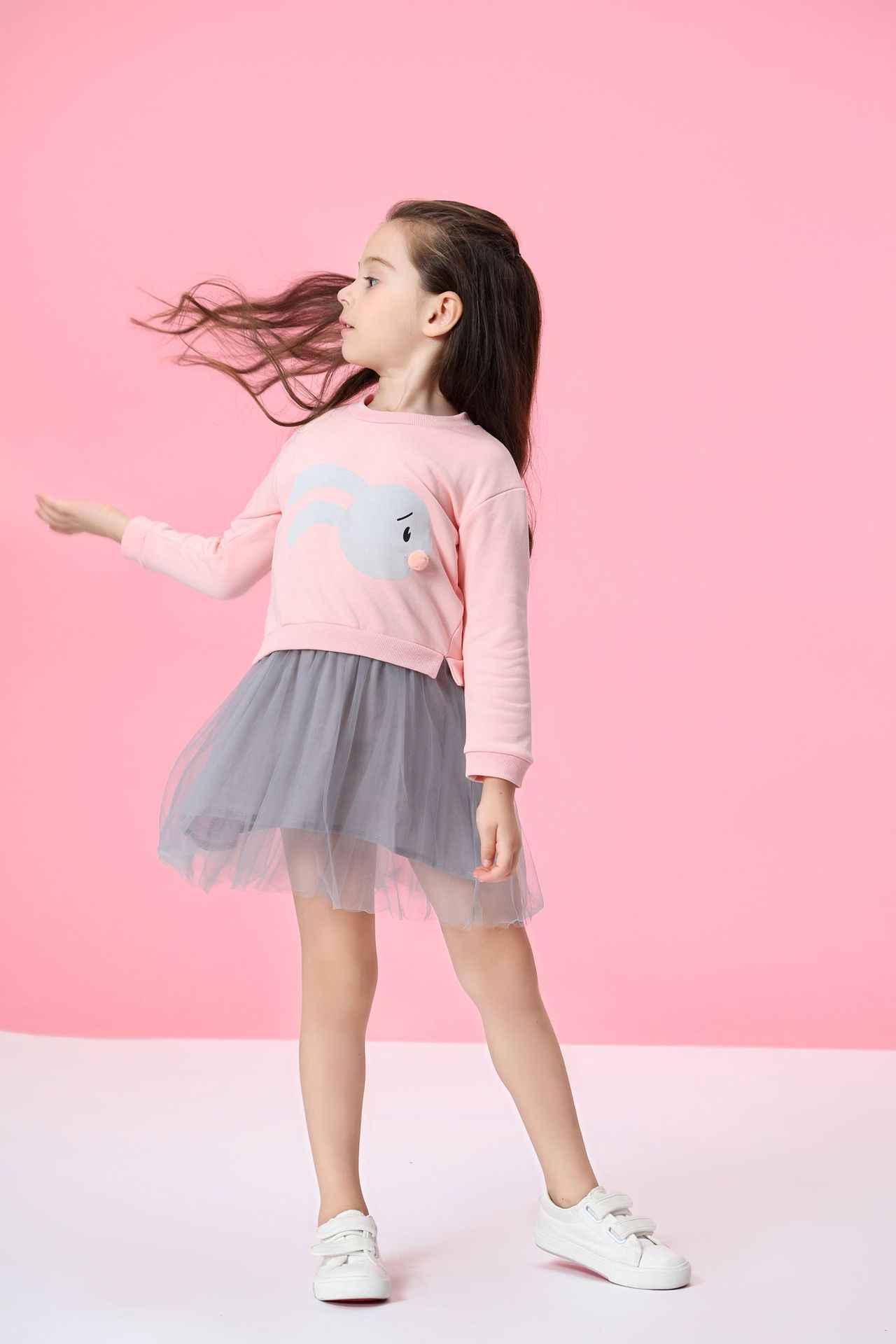 Модное платье принцессы для девочек вечерние платья из пряжи детское платье с рисунком кролика хлопковые детские платья с длинными рукавами для девочек