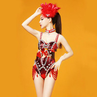 Женские сексуальные красные блестки боди с кристаллами Стразы дизайн костюм с цепочками Свадебная вечерняя одежда женское платье для выст