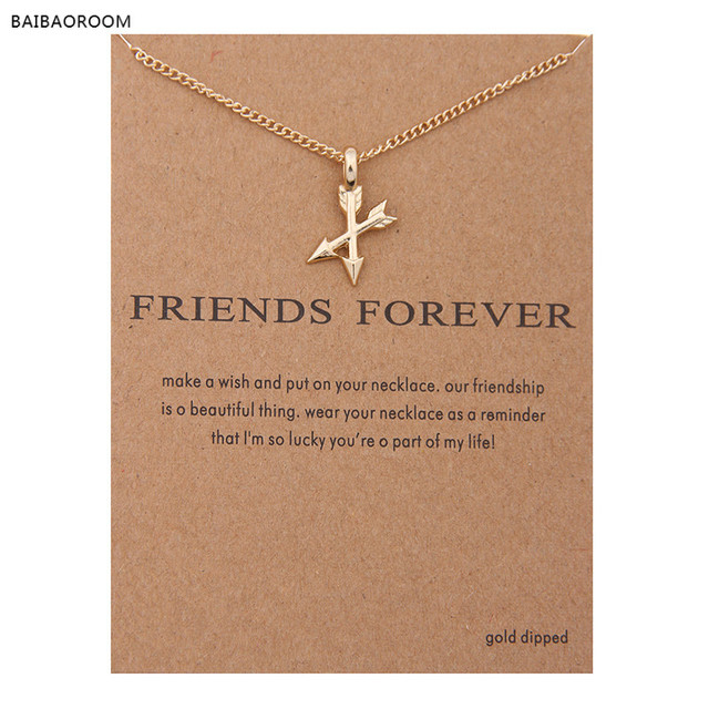 2017 New Fashion Golden Plated Arrows Cross Friends Forever Alloy Clavicle Short