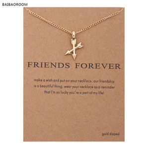 2017 New Fashion Golden Plated Arrows Cross Friends Forever Alloy Clavicle Short Necklace Pendants Women
