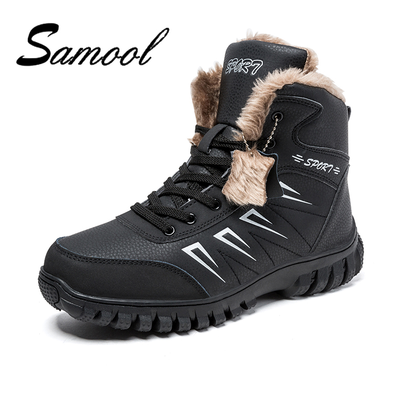SAMOOL Solid Color Big Size New Mens Winter Snow Shoes Warm Lace Up High Top Fashion Males Leather Shoes Round Head Shoe Lx5