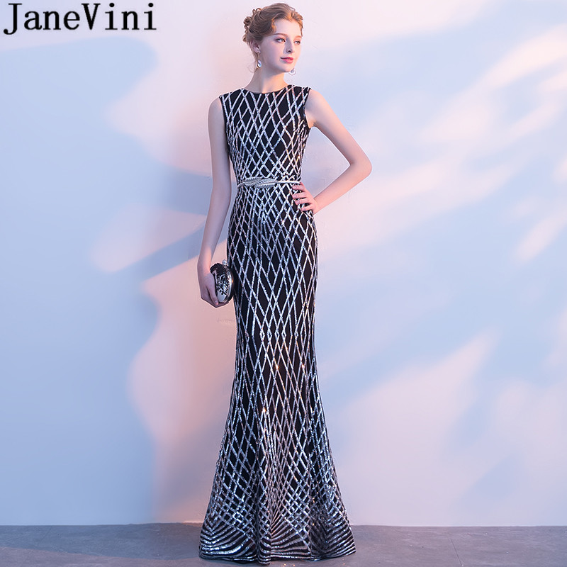 Janevini Bling Silver Sequin Evening Dress With Sleeves