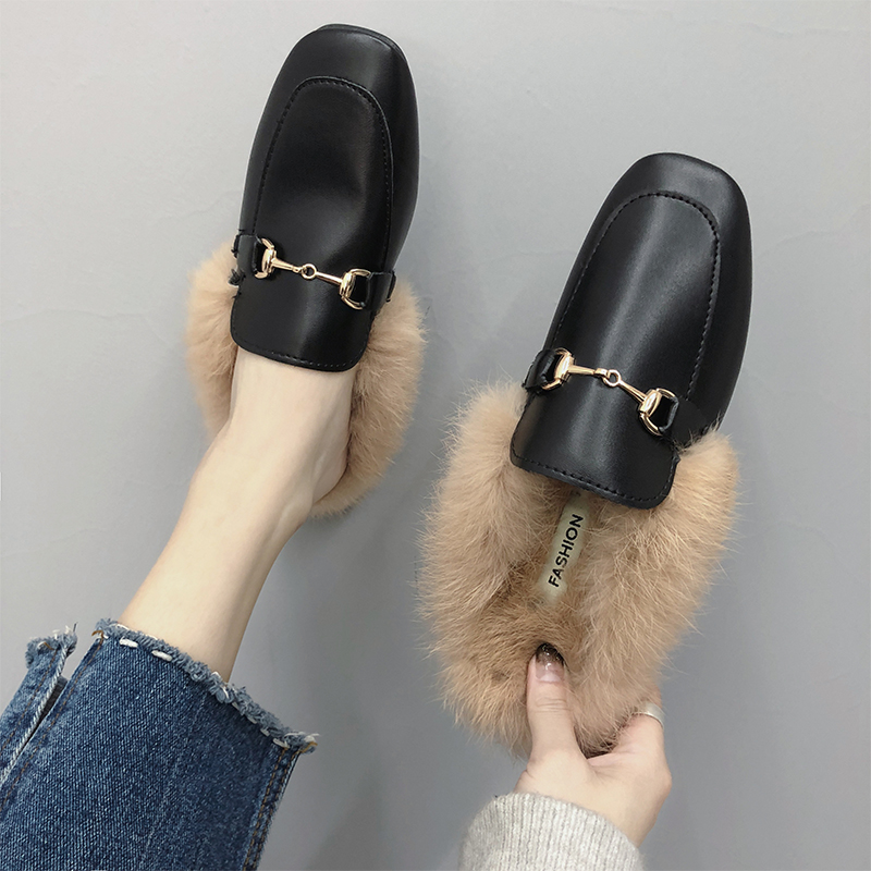 Net red slippers female autumn wear 19 new Korean version of the wild social semi-dumping head fashion hairy Muller shoes winterNet red slippers female autumn wear 19 new Korean version of the wild social semi-dumping head fashion hairy Muller shoes winter