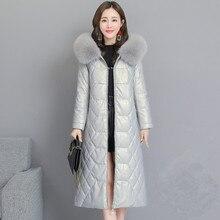 KMETRAM, настоящая кожаная куртка, зимняя куртка, женская одежда,, воротник из меха лисы, овчина, пальто, женские пуховики размера плюс, 5xl