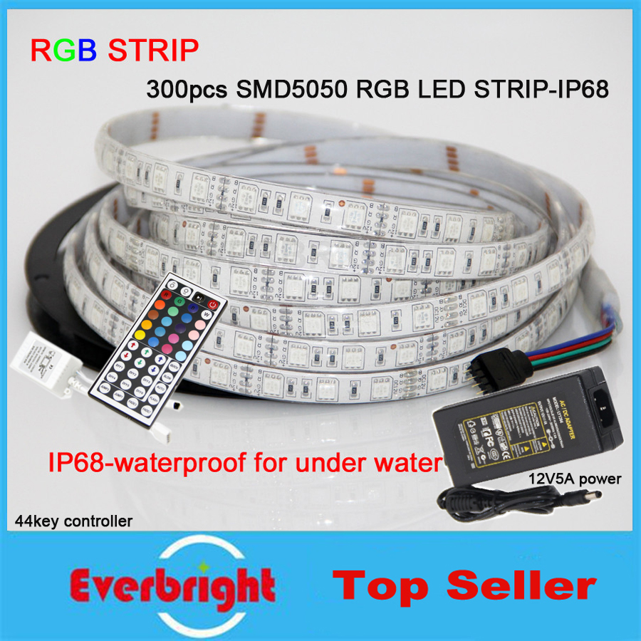 100M 20Rolls SMD5050 RGB LED Strip Waterproof IP68 DC12V LED flexible strip light + 44 keys Controller + 12V 5A Adapter DHL Free