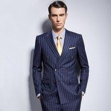 Мужской полосатый костюм на заказ Королевский Темно-синий мужской костюм в полоску, сшитый двубортный полосатый мужской костюм с отворотом на заказ мужской костюм s