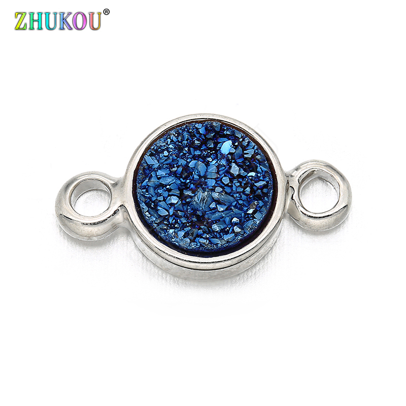 7*13mm Brass Cubic Zirconia Round Charms Connectors DIY Jewelry Findings Accessories, Hole: 1.5mm, Model: VS280