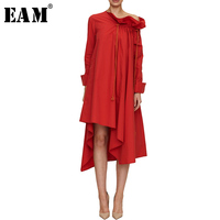 [EAM] High Quality 2018 Summer Autumn Fashion New Red Loose Casual Long Sleeve Ruffled Asymmetric Length Dress Women's LA742