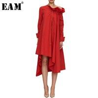 [EAM] High Quality 2018 Summer Autumn Fashion New Red Loose Casual Long Sleeve Ruffled Asymmetric Length Dress Women's LA742