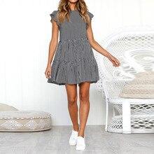 SAGACE платье модное пляжное повседневное женское летнее платье в полоску без рукавов повседневное свободное сексуальное платье мини vestido 403
