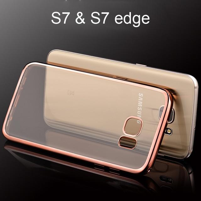 1e26770b115 Claro Subiu Chapeamento de Ouro Capa Samsung Galaxy S7 S7 Borda Capinha  Transparente Galvanoplastia Caso De