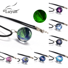 Luyun Crystal Glass Starry sky Necklace Double Sided Pendant Handmade Statement Free Shopping