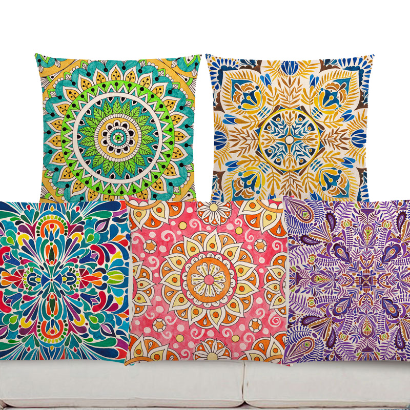 Colorful Pillows For Sofa: Decorative Pillows Sofa Boho Colorful Flowers Pink Vibrant