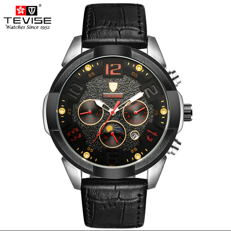 TEVISE Automatic Mechanical Watch Men Gear Classic Black Leather Auto Date Moon Phase Week 24 hour Wristwatch Reloj Hombre T811 tevise fashion auto date automatic self wind watches stainless steel luxury gold black watch men mechanical t629a with tool