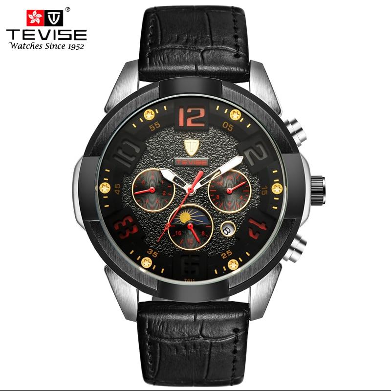 TEVISE Automatic Mechanical Watch Men Gear Classic Black Leather Auto Date Moon Phase Week 24 hour Wristwatch Reloj Hombre T811 tribal gear men s wings t shirt black