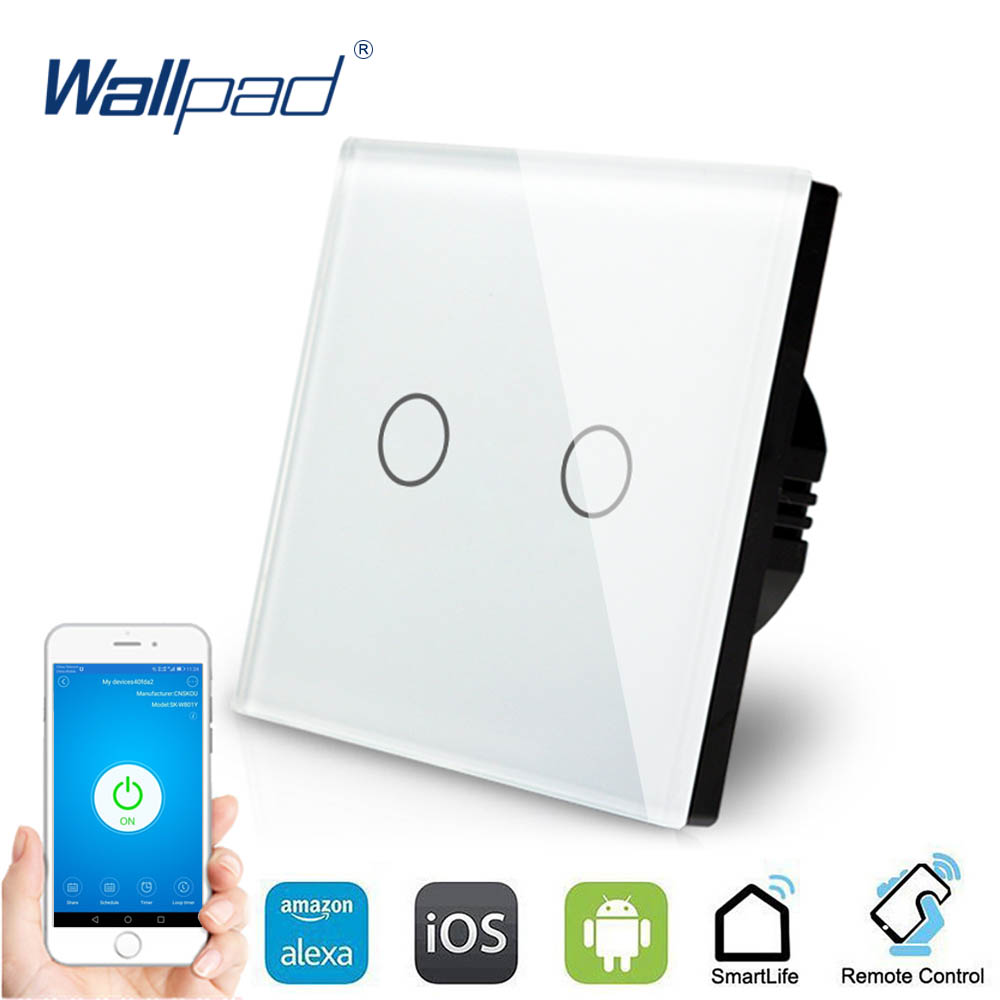2 Gang WIFI Control Touch Switch Wallpad EU UK 2 Gang 1 Way Glass Frame Smart Home Alexa Google home IOS Android Wall Switch opwt 001 1 2 3 gang wifi touch wall switch wifi wall switch smart home remote control switch support amazon alexa google home