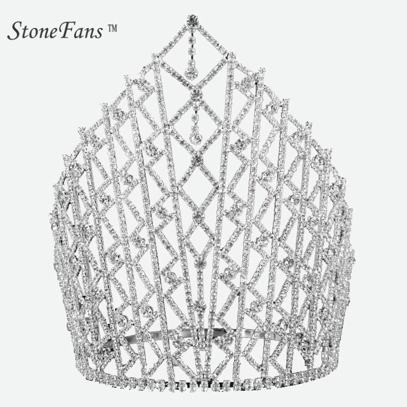 StoneFans Meisjes Tiaras And Crown Crystal Headbands Trendy Metal Pendant Rhinestone Wedding Crown Para Hair Accessories BridalStoneFans Meisjes Tiaras And Crown Crystal Headbands Trendy Metal Pendant Rhinestone Wedding Crown Para Hair Accessories Bridal