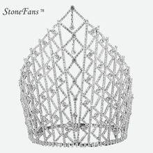 StoneFans Meisjes Tiaras And Crown Crystal Headbands Trendy Metal Pendant Rhinestone  Wedding Crown Para Hair Accessories Bridal 57d203f59ec6