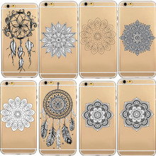 Phone Case For iPhone 7 7Plus 6 6s 6Plus 6s Plus Transparent Floral Paisley Mandala Dreamcatcher Henna Soft TPU Gel Phone Bag