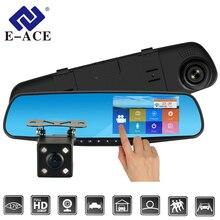 E-ACE Auto Dvr Dash Cam 4.3 Pollici Touch FHD 1080 P Specchio Retrovisore Video Recorder Dual Lens Auto Registrator Con videocamera vista posteriore