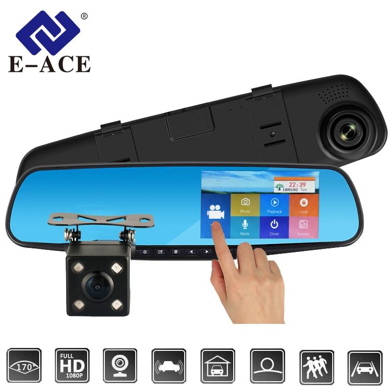 E-ACE del coche Dvr de la leva de La rociada táctil de 4,3 pulgadas FHD 1080 P espejo retrovisor grabadora de Video Dual, lente Registrador con cámara de visión trasera