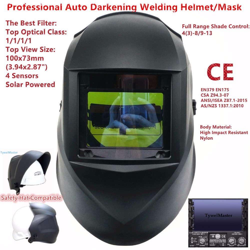 """Masque de soudage taille supérieure 100x73mm (3.94x2.87 """") classe optique supérieure 1111 4 capteurs gamme d'ombre 4 (3)-13 Auto assombrissement casque de soudage CE"""