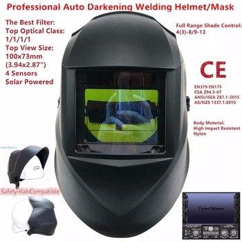 Schweißen Maske Top Größe 100 x73mm (3,94x2,87 ) top Optische Klasse 1111 4 Sensoren Schatten Palette 4 (3)-13 Auto Verdunkelung Schweiß Helm CE